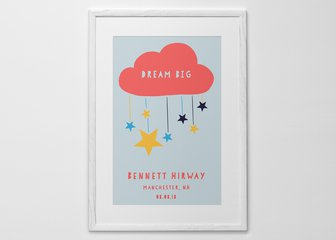 Personalised Print, Poster or Canvas - A simple, but beautiful print designed with babies in mind. Choose one of our suggested titles, or add your own words instead. Our hand-picked colour schemes range from classic and calming, to bright and bold.