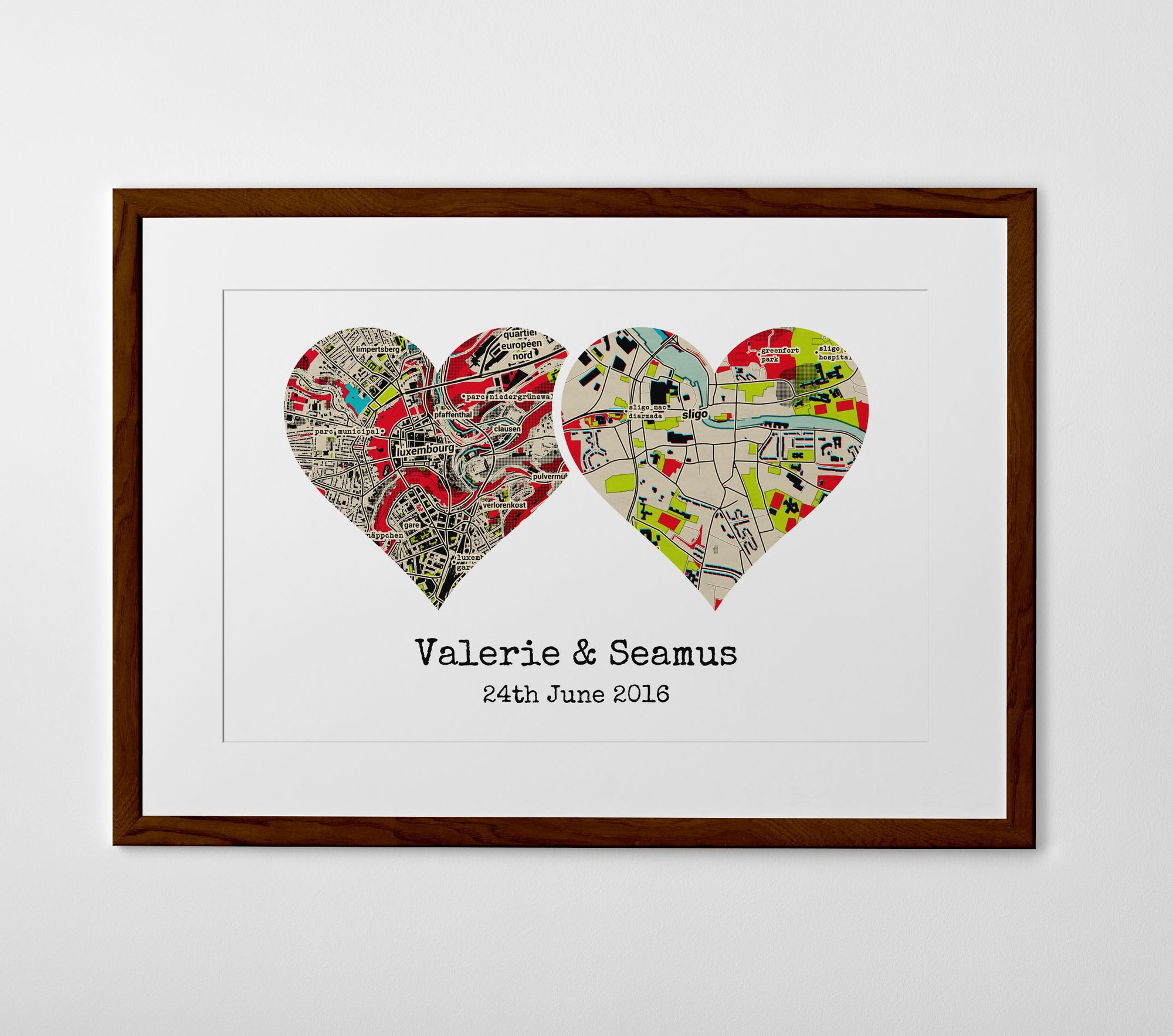 Personalised Art Print or Poster - Dual Heart Map Print