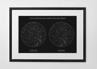 Personalised Print, Poster or Canvas - A Posterhaste Dual Star Map is a unique gift to commemorate births, weddings,  anniversaries, or other special occasions with a print of the constellations in the night sky on two different dates.