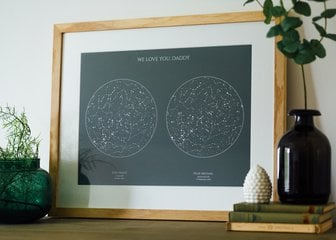 Personalised Print, Poster or Canvas - A Posterhaste Dual Star Map is a unique gift to commemorate births, weddings,  anniversaries, or other special occasions with a print of the constellations in the night sky on two different dates.  Select your places, dates, and times to create a design showing the night sky (or day!) as it was, or will be, at those locations, at your chosen moments. Perfect for births, weddings, retirement, and everything in between.