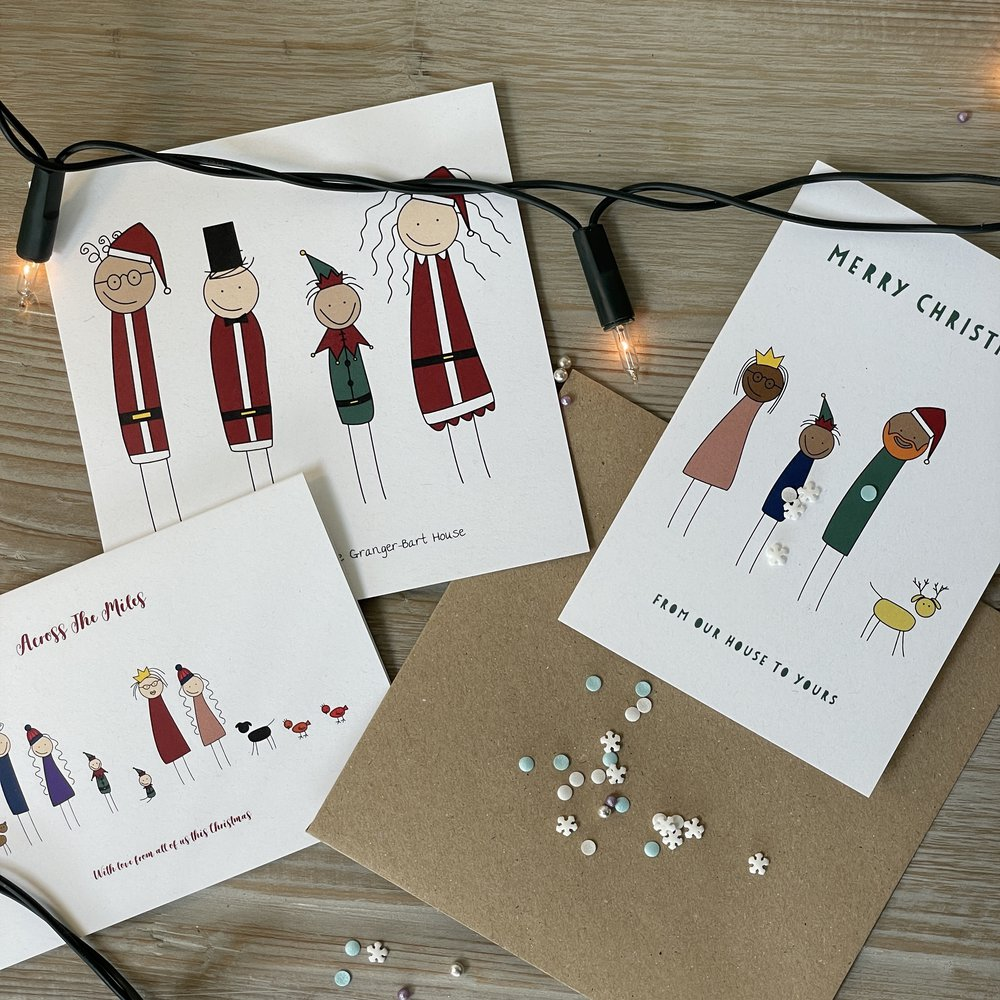 Personalized Art Print or Poster - Family Portrait Christmas Cards