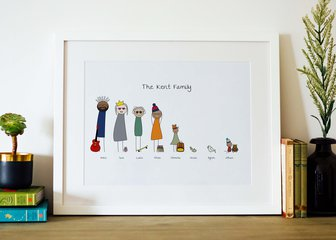 Personalised Print, Poster or Canvas - Loved by our customers for years, it's our Original Family Portrait print.   Easier than getting the whole family to smile nicely for the camera, and a lot quicker too. Don't forget to add your pets and hobbies!  A Framed Family Print or Canvas makes a great personalised gift for family and friends, whatever the occasion.