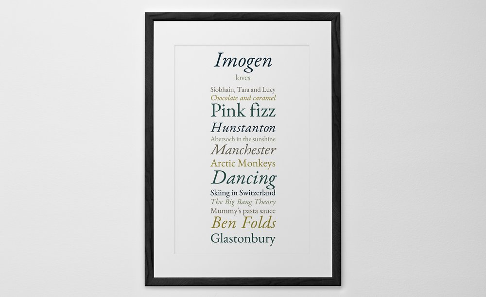 Personalised Art Print or Poster - Favourite Things