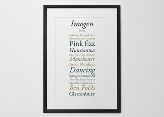 Personalised Print, Poster or Canvas - Share your favourite things with the world by creating a personalised print of your likes and loves.