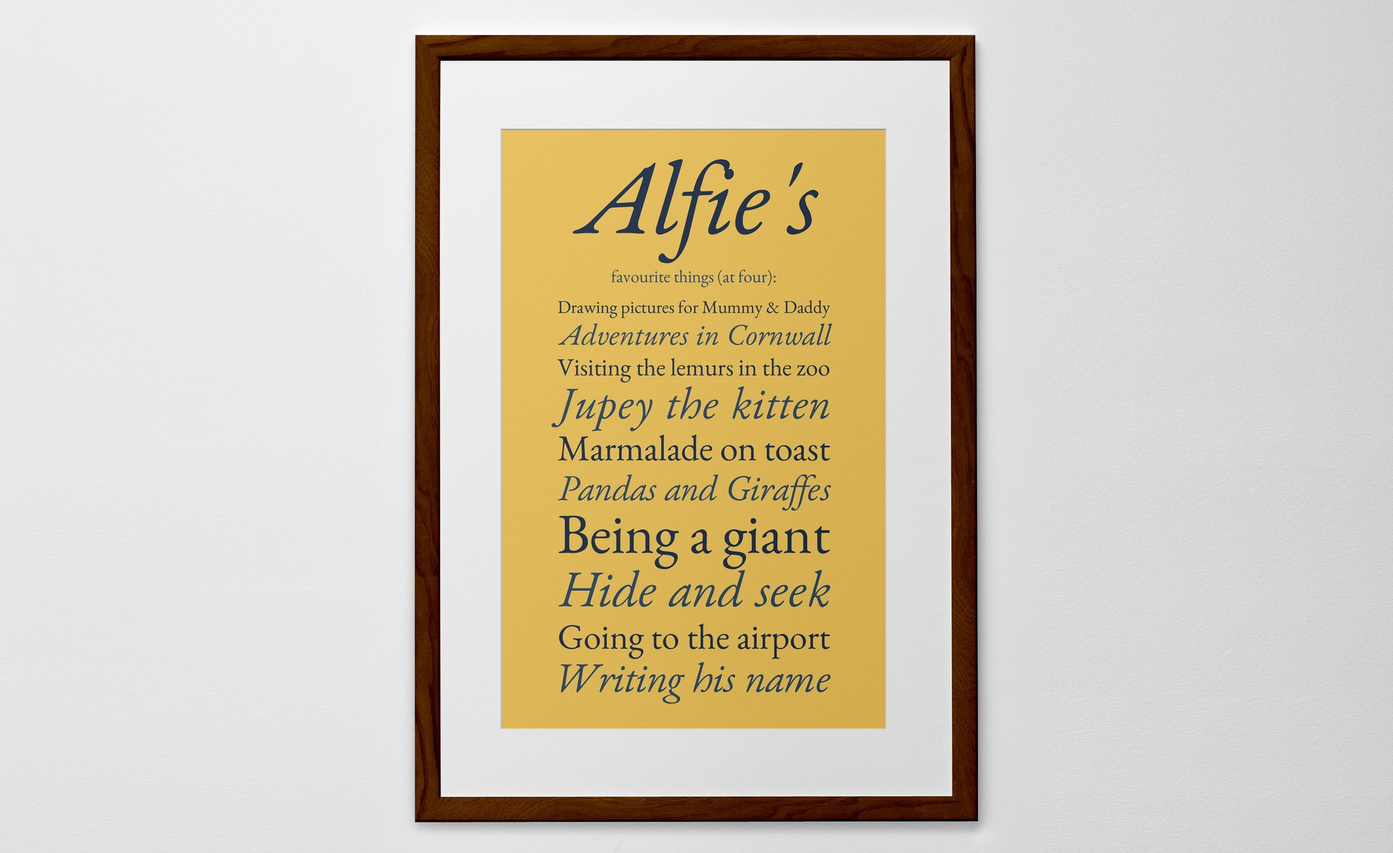 Personalised Favourite Things Print, Poster or Canvas - Posterhaste