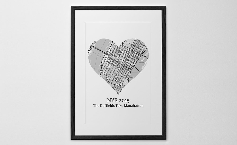 Personalised Art Print or Poster - Heart Map Print