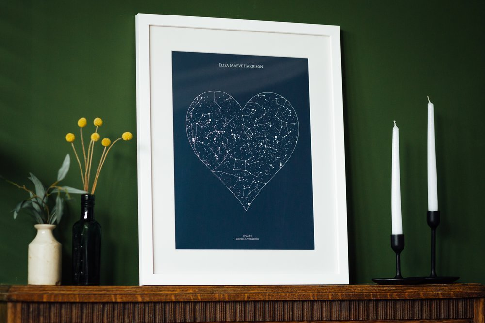 Personalised Art Print or Poster - Heart Star Map