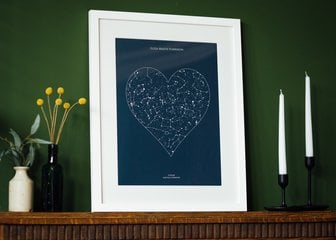 Personalised Print, Poster or Canvas - A Posterhaste Heart Star Map is a unique gift to commemorate a wedding, birth, anniversary, or other special occasion with a print of the constellations in the night sky.  Select a place, date, and time to create a design showing the night sky (or day!) as it was, or will be, at that location, at your chosen moment, in a beautiful heart shape. Perfect for a first meeting, a first dance, or first home.