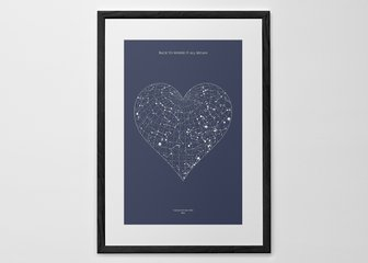 Personalised Print, Poster or Canvas - A Posterhaste Heart Star Map is a unique gift to commemorate a wedding, birth, anniversary, or other special occasion with a print of the constellations in the night sky.