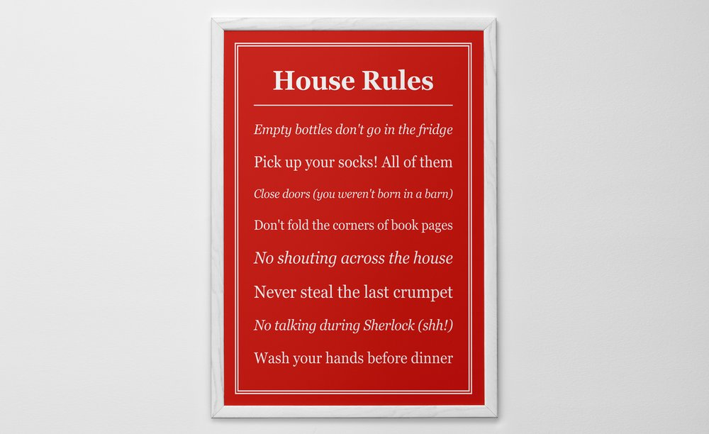 Personalised Art Print or Poster - House Rules