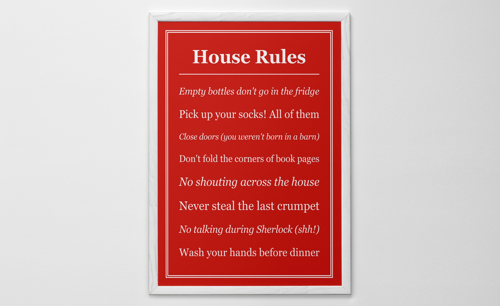 Personalized Art Print or Poster - House Rules