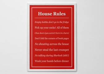 Personalized Print, Poster or Canvas - Allow no excuses with a print of your own House Rules.
