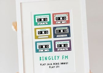 Personalised Print, Poster or Canvas - Whether it's 80s Power Ballads, 90s Dance Classics, or nothing but Rock and Roll, celebrate the soundtrack to your life with our colourful Mixtape Print. Narrow down your favourites (that's half the fun!), pick your colours, and share your sounds with the world.