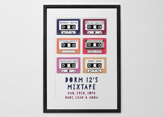 Personalized Print, Poster or Canvas - Whether it's 80s Power Ballads, 90s Dance Classics, or nothing but Rock and Roll, celebrate the soundtrack to your life with our colorful Mixtape Print. Narrow down your favorites (that's half the fun!), pick your colors, and share your sounds with the world.