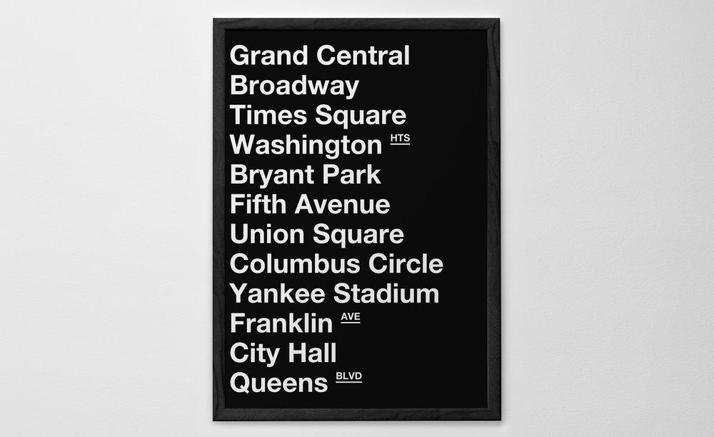 Personalised Art Print or Poster - New York Subway Poster