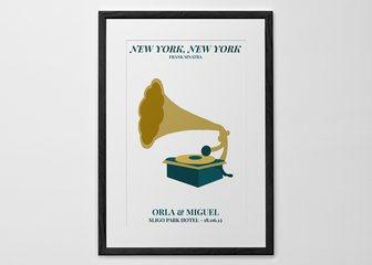 Personalized Print, Poster or Canvas - Add a touch of class to your walls with the Gramophone edition of our new 'Our Song' print. Choose your song and pick from our range of hand-picked color palettes to go alongside our beautiful hand-illustrated Gramophone design.
