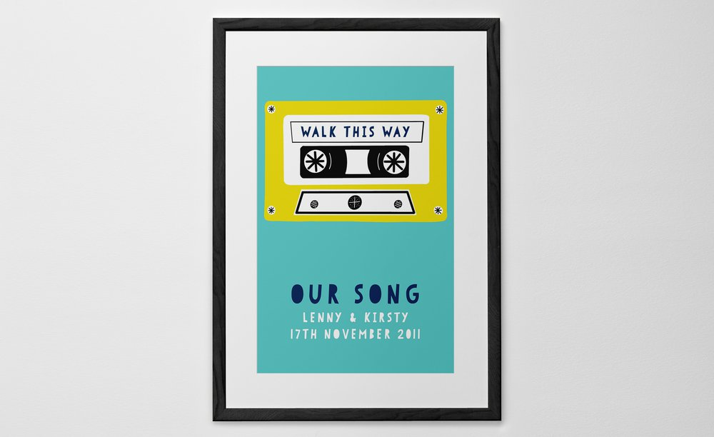 Personalised Art Print or Poster - Our Song - Tape