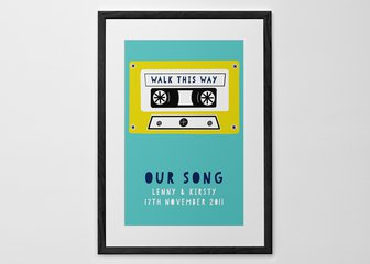 Personalized Print, Poster or Canvas - What's your favorite song? A difficult question, but we've got the perfect print for you when you've worked out your answer!   Pick one of our cassette tapes, add your song details, choose your color scheme and you'll be all set to press play.