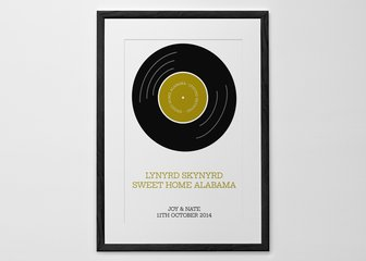 Personalised Print, Poster or Canvas - This one's for the music lovers. Commemorate that special song with our brand new Vinyl version of the 'Our Song' print. With perfectly paired fonts and colour schemes, all you have to do is choose your tune.