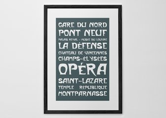 Personalised Print, Poster or Canvas - Bring a little corner of Paris chic to your daily life. The typeface is great for recreating the Metro destinations, but you can be as inventive as you like!