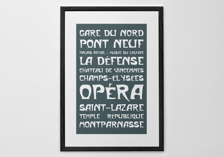 Personalized Art Print or Poster - Paris Metro Poster