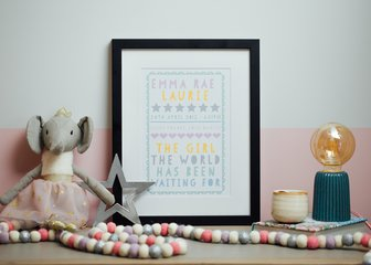 Personalised Print, Poster or Canvas - A Posterhaste Papercut Words print is a beautiful gift for your nearest and dearest, or the perfect addition to your home.   Your own choice of words is displayed in a beautiful 'paper cut' style, with the option for a decorative border. We've hand-selected a varying palette of colours for this design, ranging from elegant pastel backgrounds with white text, to bolder, fun colour mixes that will look fabulous in a kid's bedroom, or as pride of place in a kitchen.
