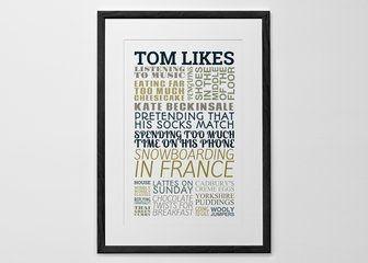 Personalised Print, Poster or Canvas - This is our original 'Typography' print's slightly more jaunty relative! Celebrate a special birthday, anniversary or occasion with our options for funky fonts and colour schemes. 