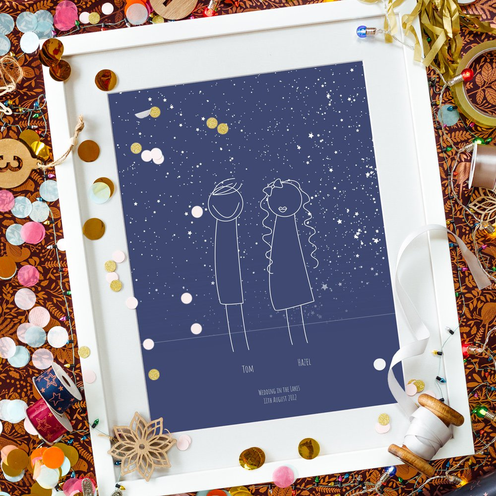 Personalised Art Print or Poster - Star Map Family