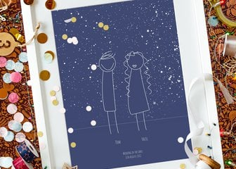 Personalized Print, Poster or Canvas - Together under the stars.  Now you can bring the fun of our Family Portrait to our beautiful Star Map designs. Select your outlines, to bring friends & family together under the stars for your chosen date and time, with the print showing the actual constellations as they appeared, just like our Star Map designs.