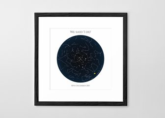 Personalised Print, Poster or Canvas - A Posterhaste Star Map is a wonderful way to commemorate a wedding, birth, anniversary or other special occasion with a unique gift.  Select a place, date, and time to create a design showing the constellations as they were (or will be) at that location, at your chosen moment. Perfect for a first meeting, a first dance, or a first home.