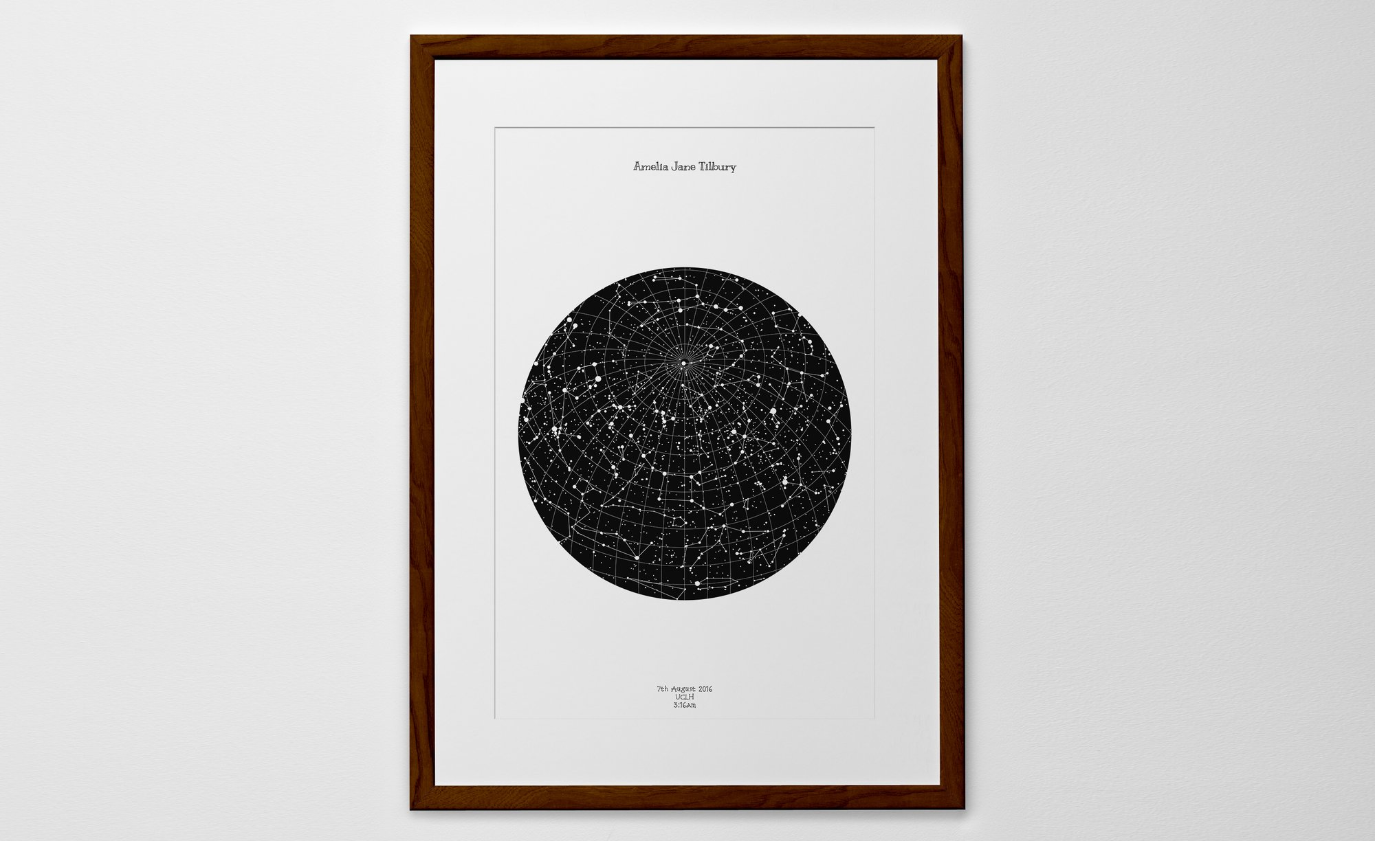 Personalized Star Map Print or Poster of the Night Sky   Posterhaste