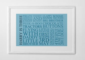 Personalised Print, Poster or Canvas - Our 'Typography' print is perfect for a birthday, wedding or anniversary gift. Celebrate a family's growth, mark an important occasion, or collate your memories - the options are endless.