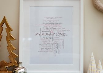 Personalized Print, Poster or Canvas - Put your friendship into words and remind your best mate of the times you've had together; Immortalise a trip of a lifetime; Share your favorite things...The options are endless  With the ability to enter up to 200 lines of text Word Cloud is one of our most customisable designs, and remains one of our most popular styles.